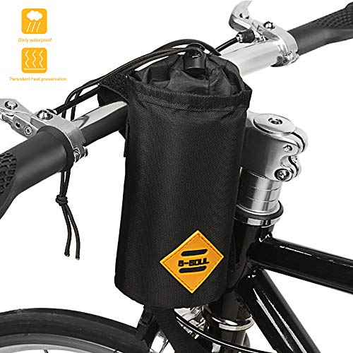 Bike Bicycle Water Bottle Holder Bag - Handlebar Cup Drink Holder Insulated Stem Bag Attachment Bicycle Cup Holder Water Bottle Drink Holder Food Snack Storage for huffy,Mountain,Pushchair (black)