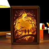 KELYNN Papercut Light Boxes, 3D Shadow USB Led Night Light for Adult Kids Baby, Baby Nursery Kids Bedroom Living Room Night Light (Hand in hand for sunset in forest)