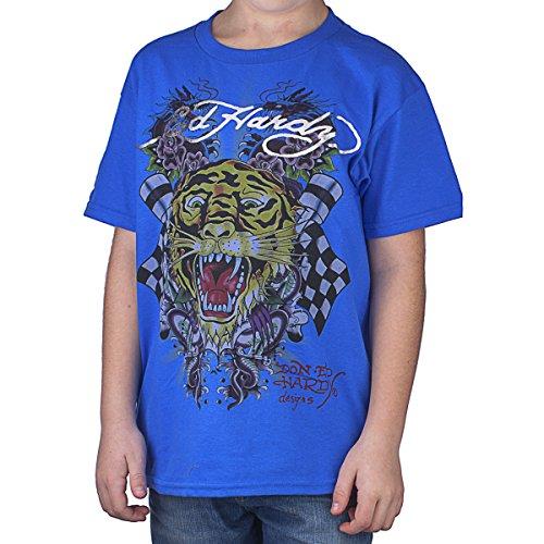 Ed Hardy Big Boys' Tiger Tee Shirt - Royal Blue - Small