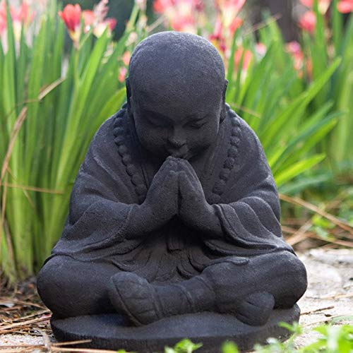 Baby Monk 3D Buddha Statue, Volcanic Ash Black Sitting Praying Spiritual God Figurine, Indonesia Buddhist Sculpture Home Garden Outdoor Oriental Gnome Decor Prosperity Serene Peace Zen, 8 Stone
