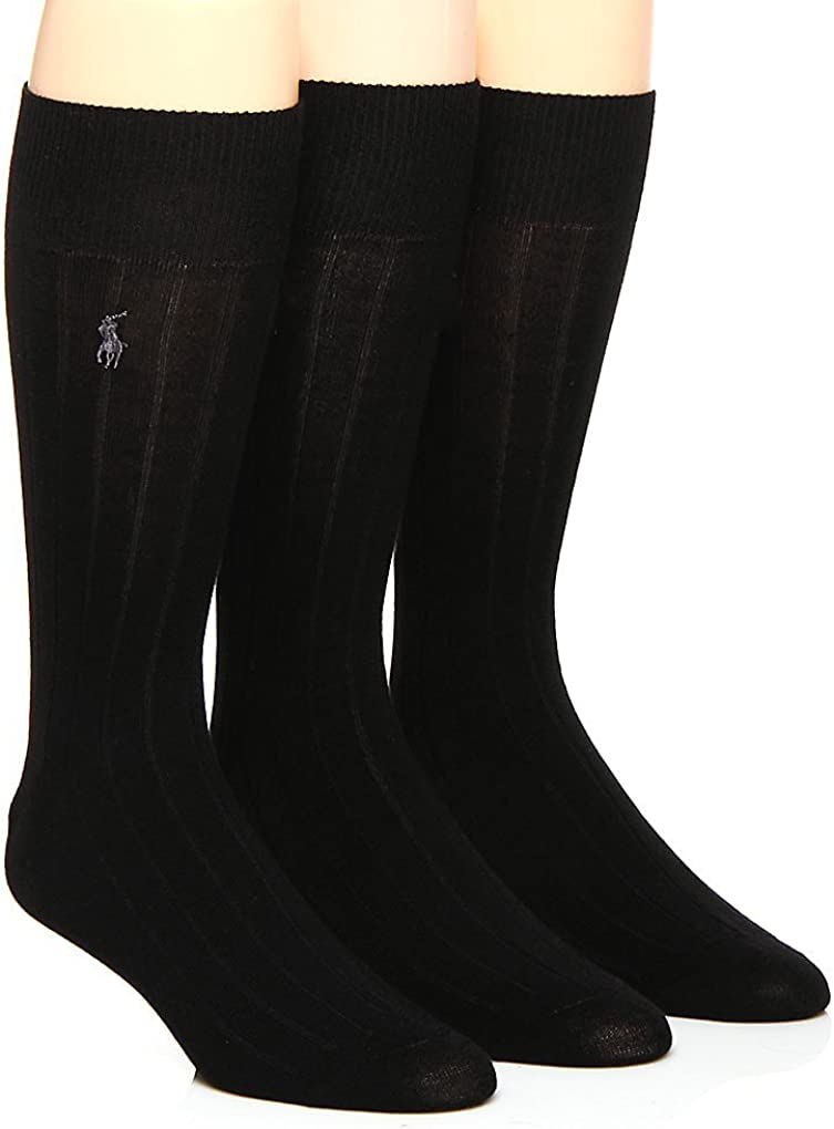 Men's Merino Wool Ribbed Dress Socks 3-Pack