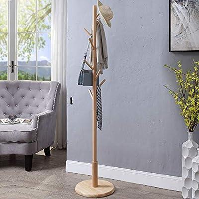 Wooden Coat Rack Hat Stand 8 Hooks Clothes Scarves Rack Hanger Storage Organizer Standing Hall Tree
