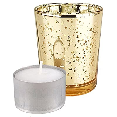 "Just Artifacts Speckled Mercury Glass Votive Candle Holder 2.75"" H w/Wax Tea Light Candles Included"