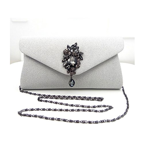 Rhinestone Bags Leather Women's Wedding White Grey Luxury Bag Clutches Evening With Synthetic 47pqxwF
