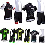 Logas Men's Cycling Jersey Set Bicycle Short Sleeve and Bib Shorts 3D Gel Padded Suit