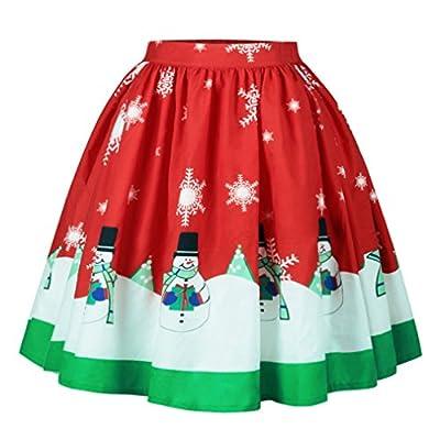 Kimring Women's Ugly Christmas Santa A-line Flare Short Swing Midi Pleated Skirt
