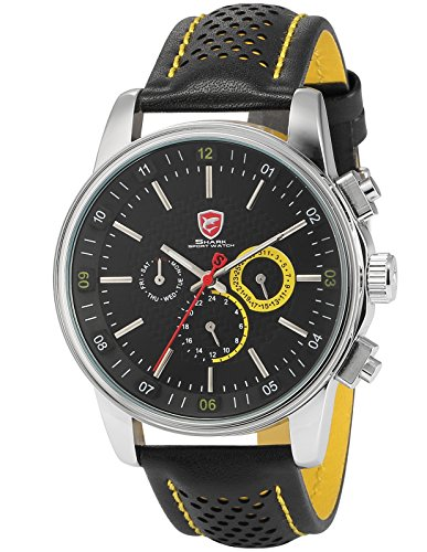 Pacific Angel Shark Men s Quartz Movement 6 Hands Date Black Yellow Sport Watch Box SH095