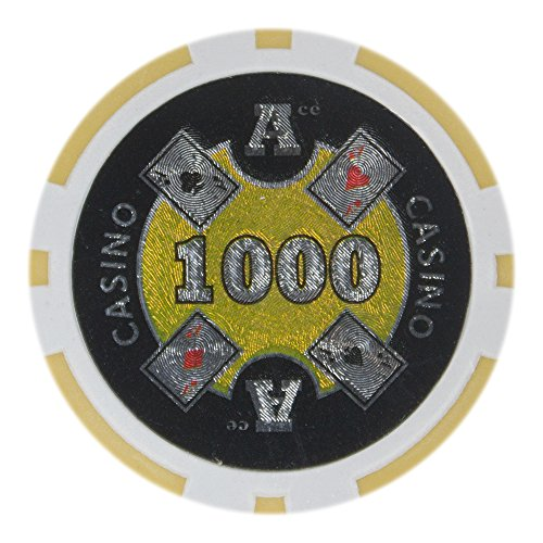 Brybelly Ace Casino Poker Chip Heavyweight 14-gram Clay Composite – Pack of 50 ($1000 Yellow)