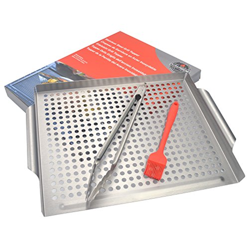 ULKNN Kalrede Stainless Steel Grill Topper barbecue pan with food tong and oil (Stainless Steel Wok Topper)