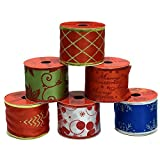 """6 Pack Christmas Ribbon; Wire Edge Ribbon of 3 Yards Each; 2 1/2"""" Wide; Total of 18 Yards of Christmas Ribbon!"""