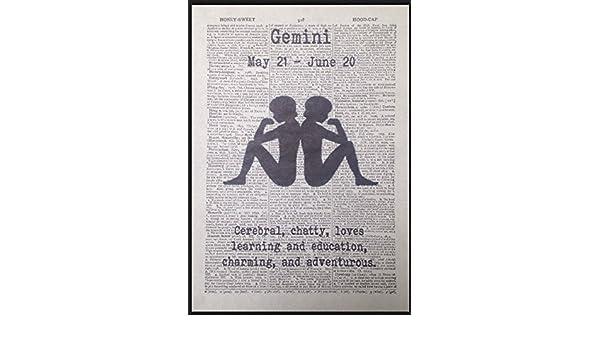 Gemini diseño de signo del zodiaco Vintage diccionario ...