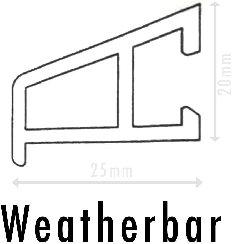 Regenabweiser f/ür T/üren UPVC 850 mm mit Befestigungsschiene Schrauben und Kappen