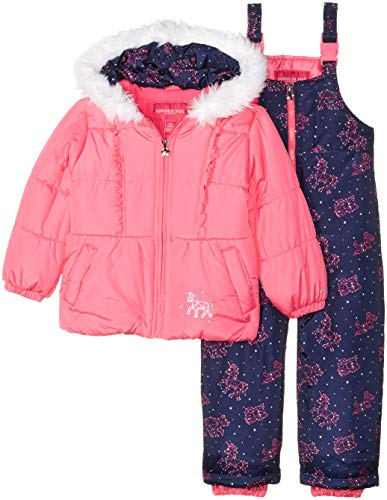 London Fog Girls' Little Snowsuit with Snowbib and Puffer Jacket, Fuchsia Unicorn, 4