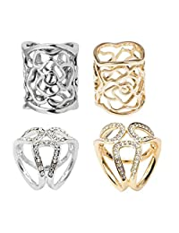 Blesiya 4 Pieces Fashion Scarf Ring Buckle Scarf Clip Triple Slide Jewelry Clothing Accessories
