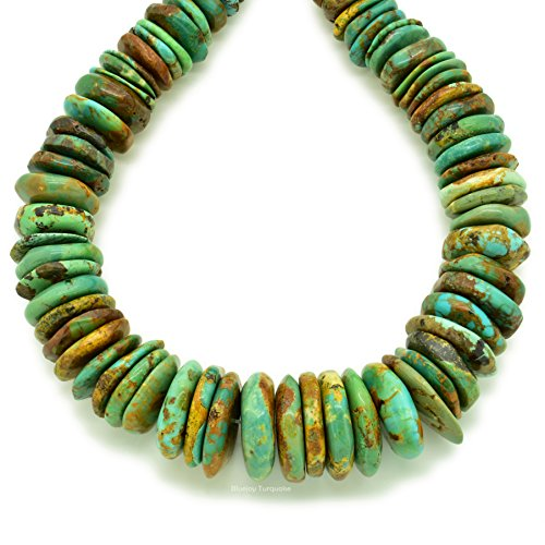 Bluejoy Indian-Style Natural Green Turquoise XL Graduated Free-Form Disc Bead w/Bold Matrix 16-inch Strand for Jewelry Making (8mm-18mm) ()