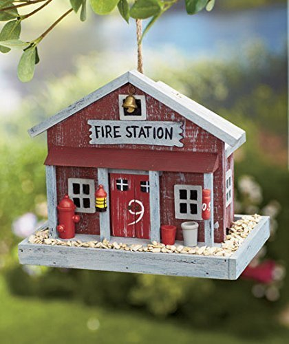 Birdhouse Little Red Barn - Fire Station Themed Country House Wooden Wild Bird Feeder Tree Hanging Yard Decor