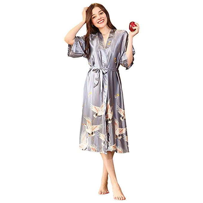 Kimono Mujer Bata Novia Albornoz Largos de Satén,Kimono de Seda Vestido Kimono Pavo Real Novia Pijamas de Seda Bata de Satén,Pijama Lencería Kimono Largo ...