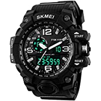 Aposon Men's Large Dual Dial Analog Digital Quartz lectronic Sport Watch Multifunction Two Timezone 24H Military...