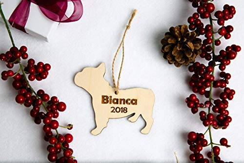 - Personalized Dog Breed Christmas Ornament - Laser Cut Wood Engraved with Name and Year