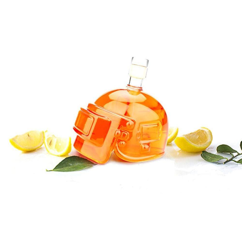 HIUGHJ Novelty Wine Pot Helmet Vodka Whiskey Bottle Drinking Glass Jug Home Bar Game Toy Decanter Flagon High Borosilicate,White