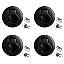 MonkeyJack Pack of 4 Pieces Black 2''/50mm Flush Round Pull Slam Latches with Lock Keys for Marine Boat Deck Hatch RV 1/4'' Door Thickness