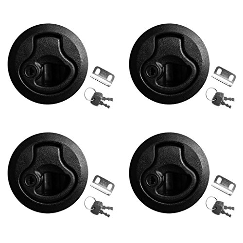 - MonkeyJack Pack of 4 Pieces Black 2''/50mm Flush Round Pull Slam Latches with Lock Keys for Marine Boat Deck Hatch RV 1/4'' Door Thickness