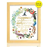 8X10 Happiness can be found in the darkest of times Real Gold Foil and Floral Watercolor Print(Framed) Dumbledore Harry Potter Quote Nursery decor wall art Wedding Holiday Gifts
