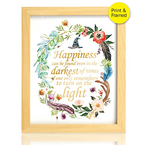 Cana Framed - 8X10 Happiness can be found in the darkest of times Real Gold Foil and Floral Watercolor Print(Framed) Dumbledore Harry Potter Quote Nursery decor wall art Wedding Holiday Gifts