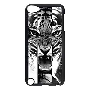 Black and White Tiger Roar Cross Protective Hard Shell PC Back Fits Cover Case for iPod Touch 5, 5G (5th Generation)