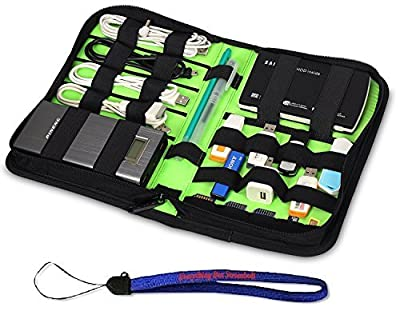 Nylon Fabric Storage Holder/Wallet/Case/Bag/Organizer for USB Flash Drives/Thumb Drives/Pen Drives/Jump Drives & HDD/Power Bank/SD Card/Ipod/Cell Phone W/ Everything But Stromboli (tm) Lanyard from HanveL & Everything But Stromboli