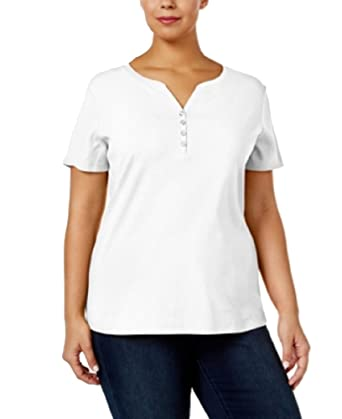4622b4be73dc3 Amazon.com  Karen Scott Plus Size Cotton Henley T-Shirt (Bright ...