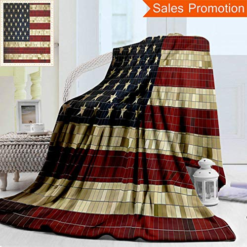 Unique Double Sides 3D Print Flannel Blanket American Flag Abstract Mosaic Flag Of Usa Grungy Design Square Shaped Illustration Dark B Cozy Plush Supersoft Blankets for Couch Bed, Twin Size -