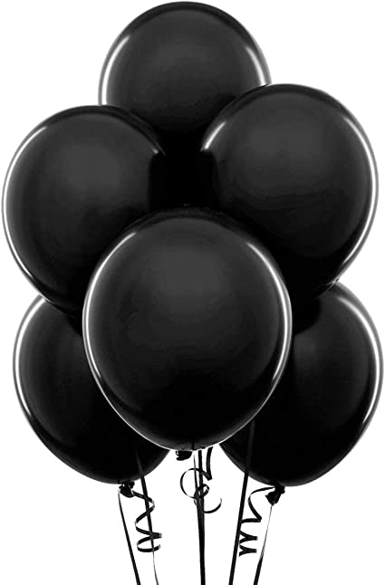 "Black 24  Latex Balloons 12/"" When Inflated Solid Colors"