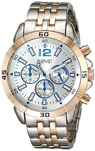 August Steiner Men's AS8111TTR Two Tone Chronograph Quartz Watch with Silver Dial Silver and Rose Gold Bracelet Watch