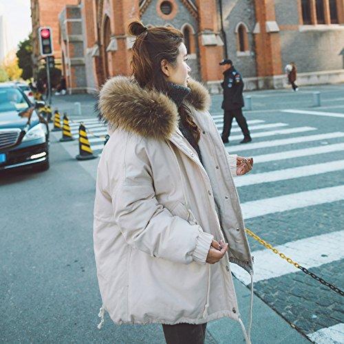 Xuanku Winter Big Collar Collar Loose Hooded Cotton Ladies Winter Draft Drawstring Short Coat Beige 2119