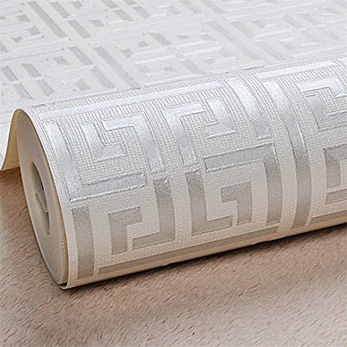 Gold Greek Key Pattern White Wallpaper Modern Geometric Metallic Vinyl Wall Paper E00405 Silver White 10mx53cm