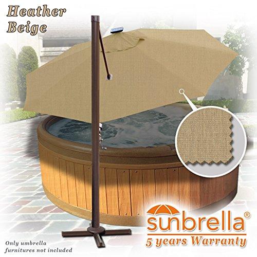 Strong Camel 11.5' Deluxe Cantilever Big Roma Umbrella Hanging Offset Solar Umbrella UV50+ Tilt & 360'C Rotation Patio Heavyduty Outdoor Sunshade Cantilever Crank SUNBRELLA Cover (Beige) by Strong Camel (Image #4)