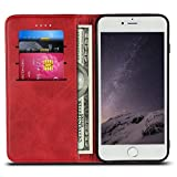 "iPhone 6s Case, iPhone 6 Case, Wallet Phone Case Protective Flip Leather Cover Card Slot Holder with Kickstand for Apple iPhone 6 / 6S Devices 4.7"" (Red)"