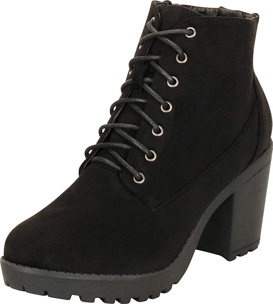 Cambridge Select Women's Lace-Up Lug Sole Chunky Platform Block Mid Heel Ankle Bootie