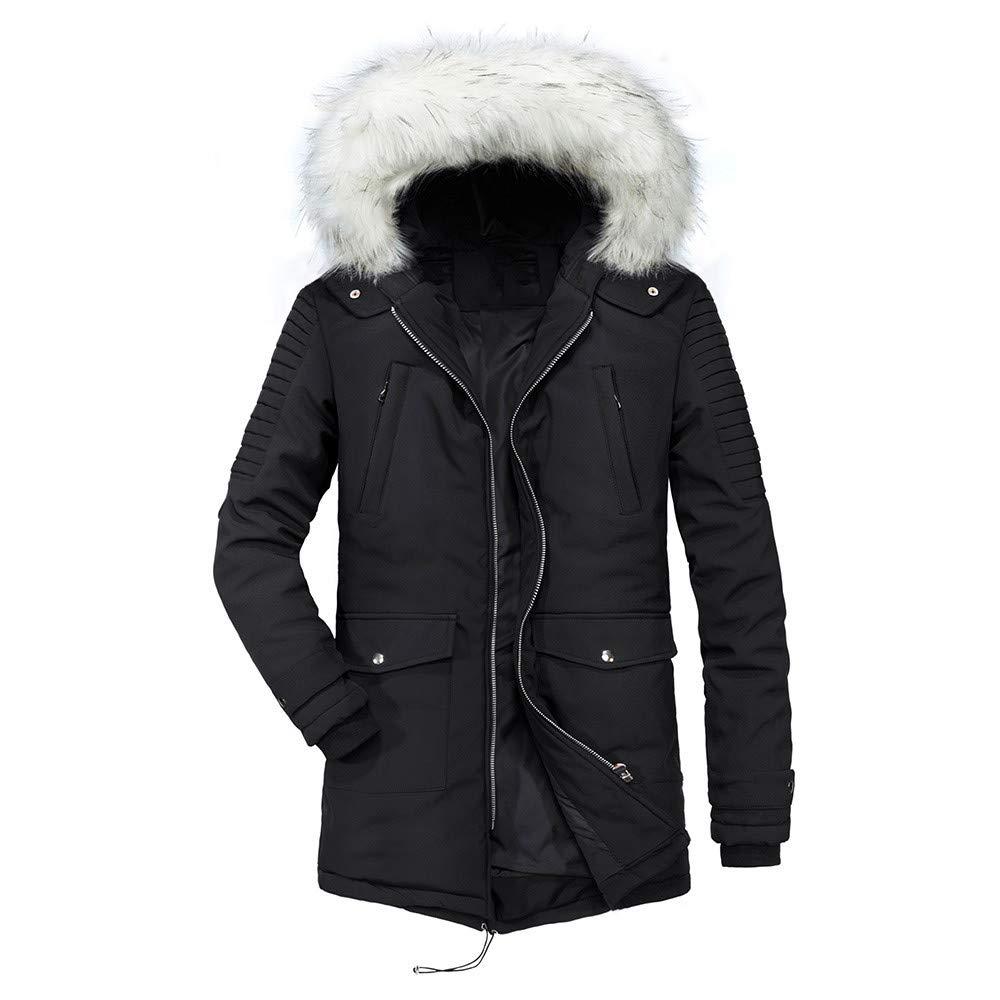 Hanican Men Winter Warm Long Coat Fur Hooded Thicken Fleece Jacket Solid Zipper Cotton Outerwear Plus Size, Black, XXL