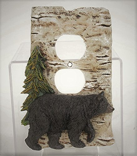 Black Bear and Pine Tree Outlet Cover