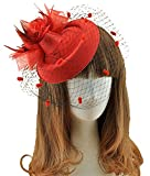 Fascinator Hats Pillbox Hat British Bowler Hat Feather Flower Veil Wedding Hat ( Red)