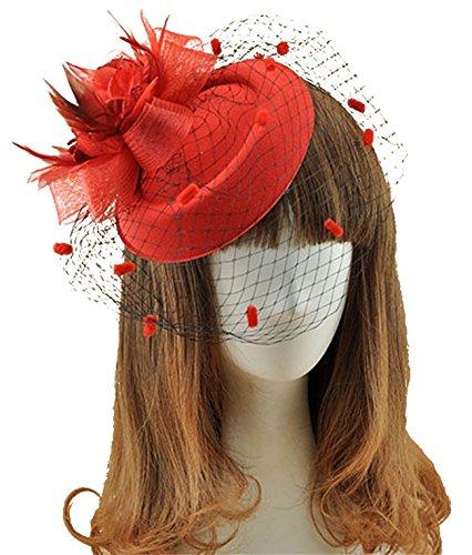 Flapper Hat In Red (Fascinator Hats Pillbox Hat British Bowler Hat Feather Flower Veil Wedding Hat ( Red))