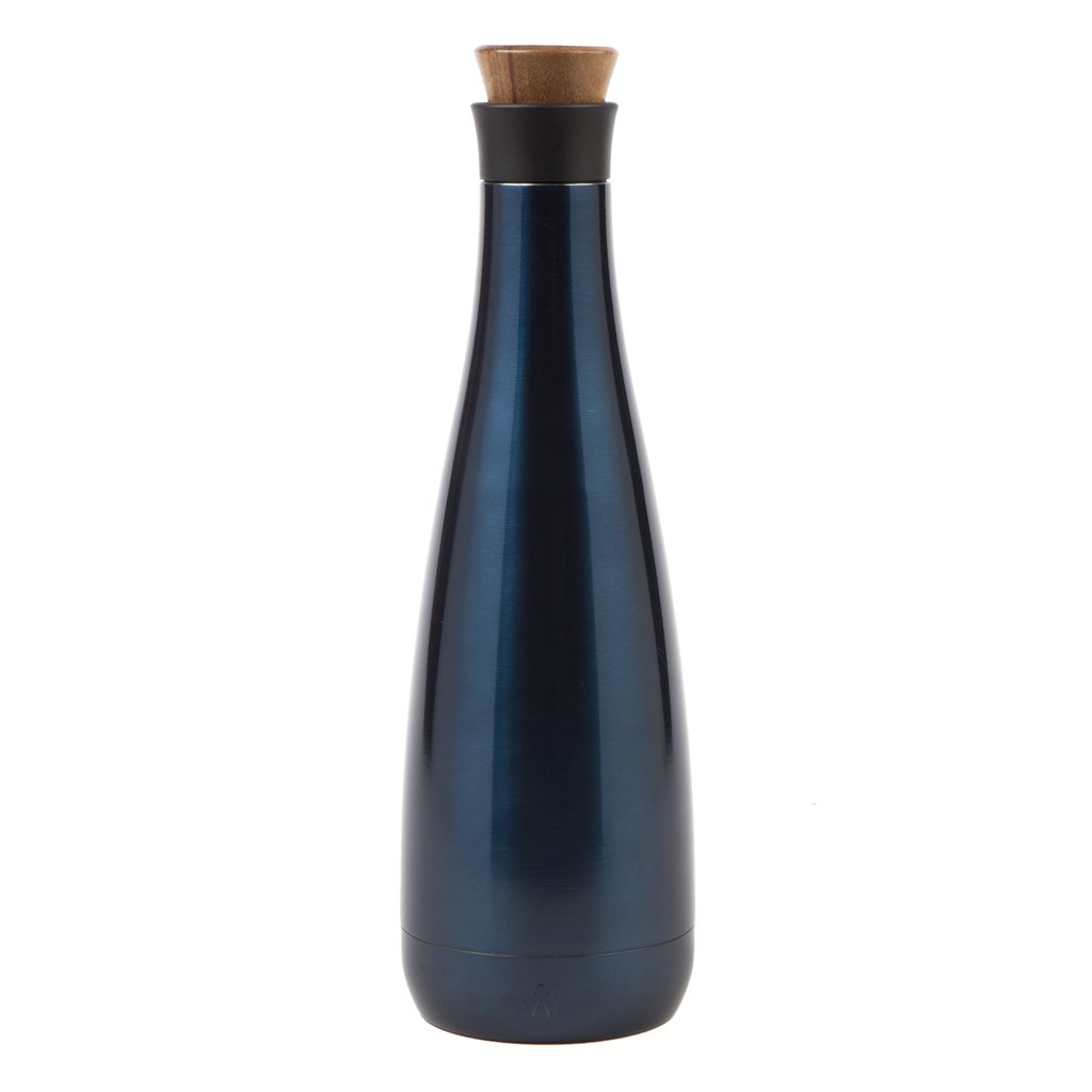 Manna Carafe 25 oz Metallic Double Walled Vacuum Insulated Stainless Steel w/Screw Top Lid - Holds 1 Bottle of Wine | Keeps Liquid Cold for 24 Hours & Hot for 12 hours - Navy
