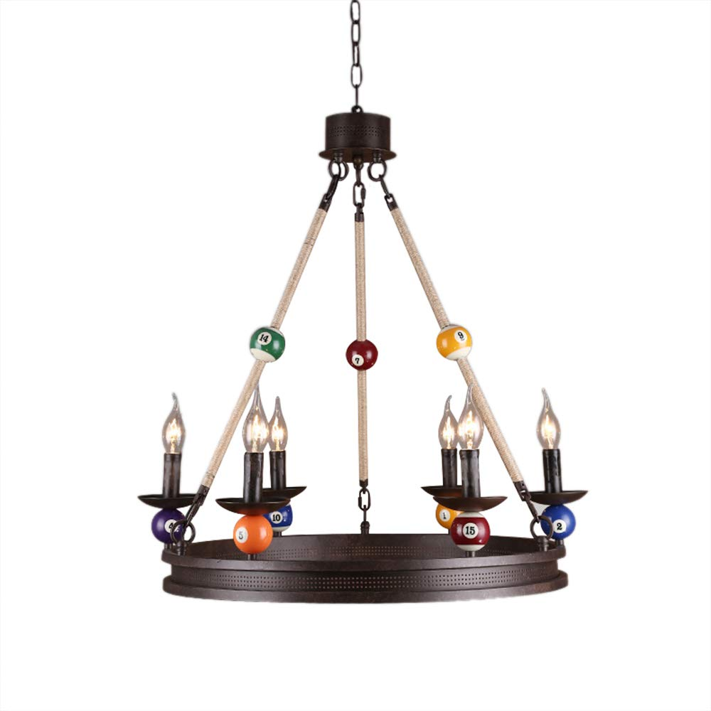 Industrial Vintage Island Light-LITFAD 3 Lights 38.5 Chandelier Edison Metal Pendant Lamp Fixture with Metal Shade Special Billiard Ball Decoration in Black Finish,UL Listed