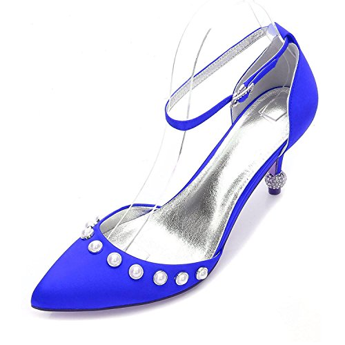 Basic Wedding Blue Low Strap high Pointed Pump Heel Women's Kitten shoes Shoes Elegant Comfort Ankle Stiletto Toe Heel Shoes XInUqHwBx