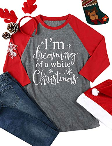 Nlife Women I'm Dreaming of A White Christmas Tee Long Sleeves Color Block Tops Blouse