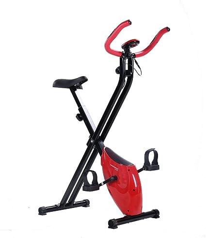 Bicicleta Estática Confidence Fitness Plegable Rojo: Amazon.es ...