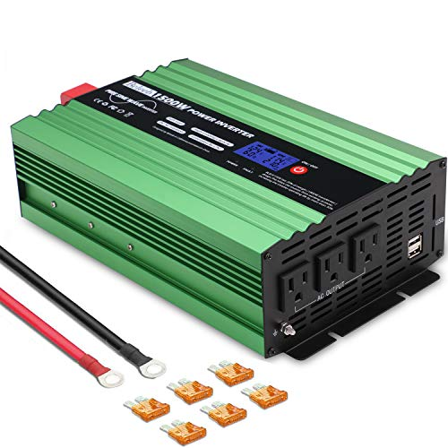 Beleeb Pure Sine Wave Inverter 1500Watt DC 12V to AC 110V 120V with LCD Display,3 AC Outlets and 2 USB Ports,Solar Power…