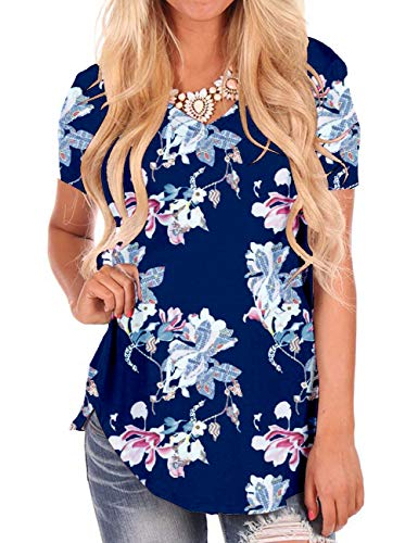 Floral Printed T-Shirt for Women Lightweight Summer Tops Short Sleeve Blouses L Navy
